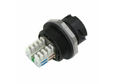 IP67 Plastic Receptacle Housing with Shielded Cat.5e RJ45 IDC Jack + Black Cover Bayonet locking