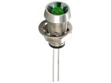 Panel mount 5mm LED indicator with reflector, green, M8 thread