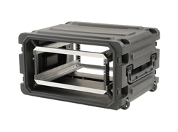 SKB 19 inch 6 Unit Deep Shock Rack. 510mm Rack Depth with Wheels and Trolley Handle