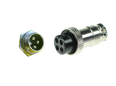 4 pin metal panel mount plug and inline socket (pair)