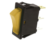 Rocker Switch, On-Off, SPST, Amber neon