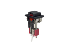 Miniature Pushbutton Switch Red LED Single Pole Double Throw, On-(On)