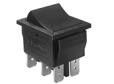 Rocker Switch, On-Off, DPDT, Black