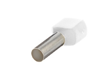 0.5mm² Twin wire ferrules, White (Pack = 100 pcs)