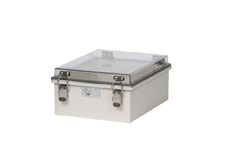 Boxco 150mm x 150mm x 90mm Draw Latch Enclosure Grey Polyester Base & Transparent Polycarbonate Lid.