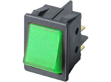 Rocker Switch, On-Off, DPST, Green neon