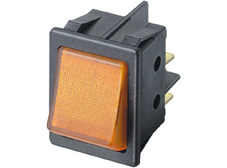 Rocker Switch, On-Off, DPST, Amber neon
