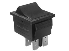 Rocker Switch, On-Off, DPST, Black