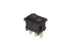 Rocker Switch, On-On, SPDT, Black with Markings On-OFF