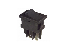 Rocker Switch, On-Off, DPST, Black, Snap in