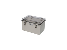DSE Hi Box 300mm x 200mm x 180mm Steel Draw Latch Enclosure Grey ABS Base & Transparent Polycarbonate Lid.