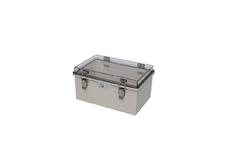 DSE Hi Box 300mm x 200mm x 150mm Steel Draw Latch Enclosure Grey ABS Base & Transparent Polycarbonate.