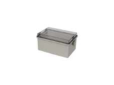 DSE Hi Box 200mm x 300mm x 150mm Steel Draw Latch Enclosure Grey ABS Base & Transparent Polycarbonate.