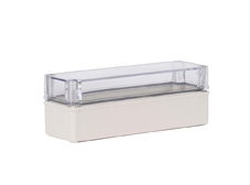 DSE Hi Box 250mm x 80mm x 85mm Enclosure Grey ABS Base & Transparent Polycarbonate Lid