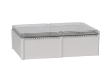 DSE Hi Box 560mm x 380mm x 180mm Draw Latch Enclosure Grey Polyester Base & Transparent Polycarbonate Lid.