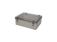 DSE Hi Box 400mm x 300mm x 150mm Draw Latch Enclosure Grey Polyester Base & Transparent Polycarbonate Lid.