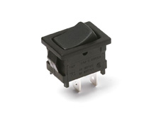 Rocker Switch, On-On, SPDT, Black, Snap in