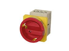 Main switch,3 pole,20A, 7,5kW,4 hole mounting