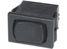 Rocker Switch, Off-(On), SPDT, Black