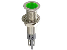 Panel mount LED indicator with extra flat execution, green, 12V