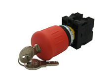 M22 Emergency Stop Pushbutton, Latching, Key to open