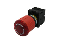 M22 Illuminated Emergency Stop Pushbutton, Latching, Twist Release