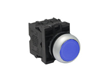 M22 Latching Blue Illuminated Push Button Switch
