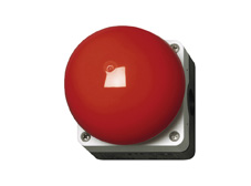 Palm (mushroom) switch, red/grey, 1N/O, 1N/C momentary