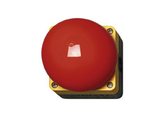 Palm (mushroom) Emergeny Stop button, red/yellow, 1 N/O, 1N/C, maintained