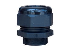 Weyer M16 Nylon Black Gland with Lock Nut. IP68.
