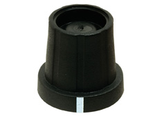 15mmØ x 18.2mm high Black Knob (w/- line), 1/4