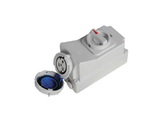 CEE Industrial Switched Socket  with Mechanical Interlock 3 pole 32 Amp 230 Volt 6h position IP67,