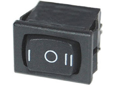 Rocker Switch, On-Off-On, SPDT, Black with I O II markings