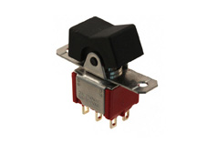 Miniature Rocker Switch Double Pole Double Throw, (On)-On-(On)