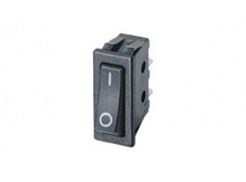 Rocker Switch, On-Off, SPST, Black with I O markings