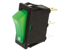 Rocker Switch, On-Off, SPST, Green neon