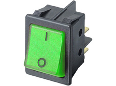 Rocker Switch, On-Off, DPST, Green neon with I O markings