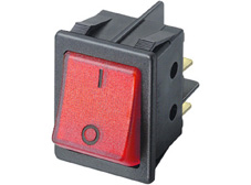 Rocker Switch, On-Off, DPST, Red neon with I O markings