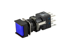 16mm Blue Illuminated Pushbutton 24V, Square, Maintained