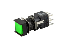 16mm Green Illuminated Pushbutton 24V, Square, Maintained