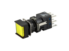 16mm Yellow Illuminated Pushbutton 24V, Square, Maintained