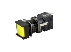 16mm Yellow Pilot Light, Square, 12VDC LED