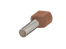 10mm² Twin wire ferrules, Brown (Pack = 100 pcs)