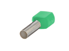 6mm² Twin wire ferrules, Green (Pack = 100 pcs)